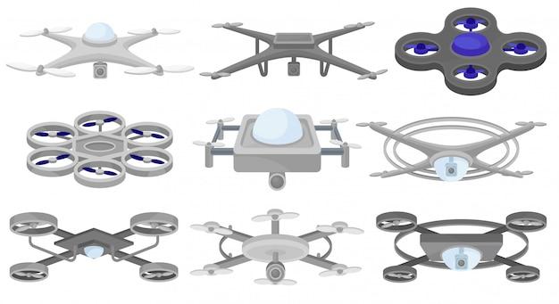 別のセット。無人航空機。飛行ドローン。現代のテクノロジー