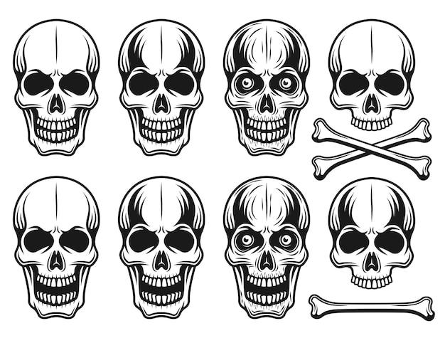 Набор различных вариантов черепа иллюстрации в винтажном монохромном стиле