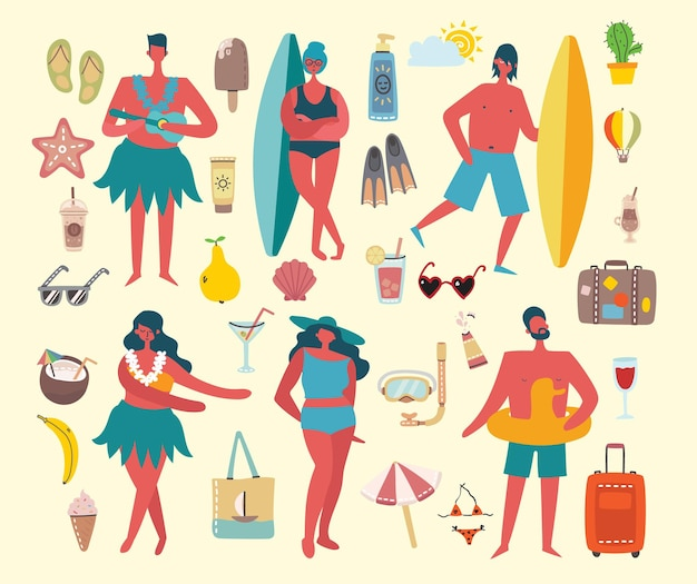 Набор различных векторных летних людей и иконок в плоском ячмене