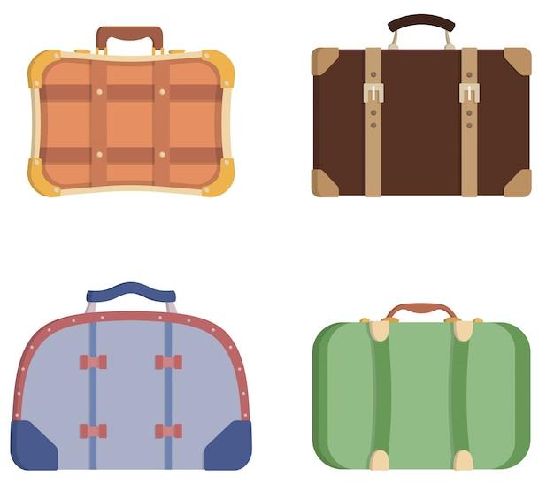 Набор различных старинных чемоданов.