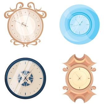 Набор различных настенных часов. винтажные и классические объекты в мультяшном стиле.