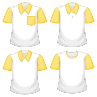 Набор различных белых рубашек с желтыми короткими рукавами, изолированных на белом