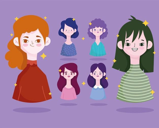 Набор различных женщин профиль мультфильм аватар дизайн