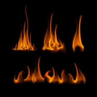 Набор различных желтый оранжевый огонь пламя костра, изолированных на фоне
