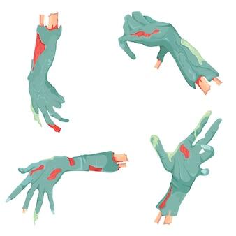 別のゾンビの手のセットです。漫画のスタイルのハロウィーンのシンボル。