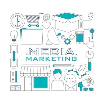 Set of digital marketin icons on hexagons