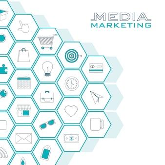 六角形のデジタルマーケティングアイコンのセット