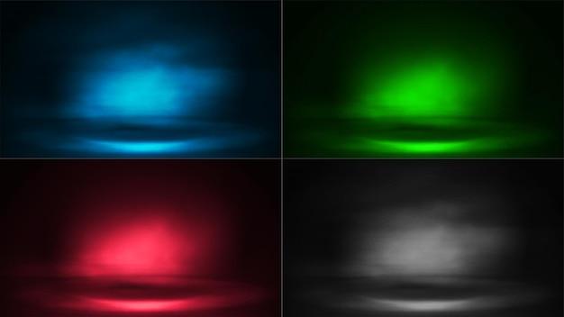 霧と光線のあるデジタルシーンのセット。青、緑、ピンク、グレーのデジタルネオンシーン