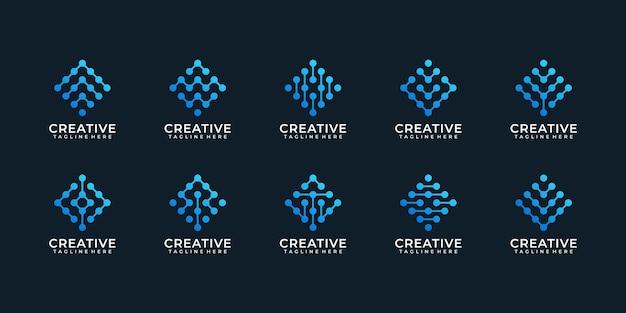 디지털 기술 네트워크 로고 디자인 연결 세트