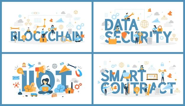 주위 사람들과 디지털 기술 단어의 집합입니다. 블록 체인 및 데이터 보안, 사물 인터넷 및 스마트 계약. 컴퓨터 간의 클라우드 연결. 벡터 평면 그림