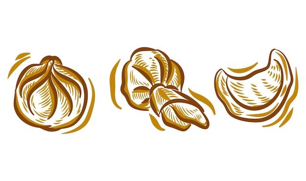点心手描きイラスト落書きのセットのブランドロゴの背景要素