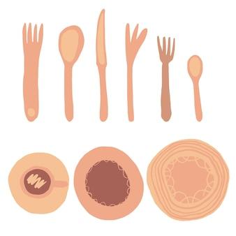밝은 배경에서 분리된 식당 개체 집합의 집합입니다. 포크, 나이프, 숟가락, 접시, 컵. 흰색 배경에 고립 된 자유형 손으로 그린 식기