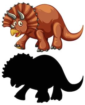 恐竜の漫画のキャラクターとその白い背景のシルエットのセット