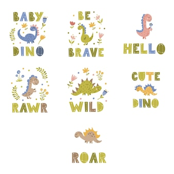 공룡 관련 레터링 문구 세트입니다. 벡터 일러스트 레이 션.