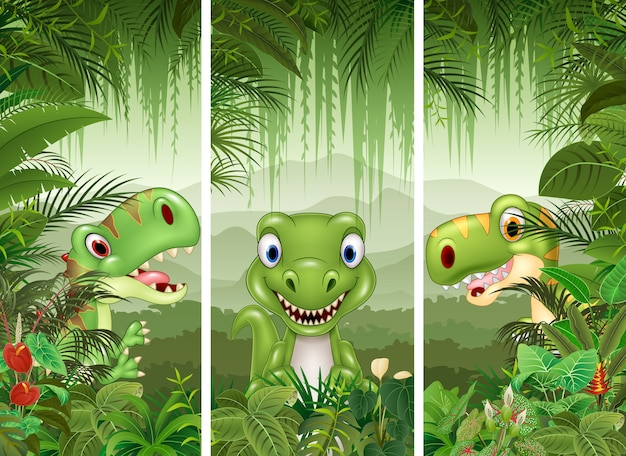 Набор динозавров с фоном тропических лесов