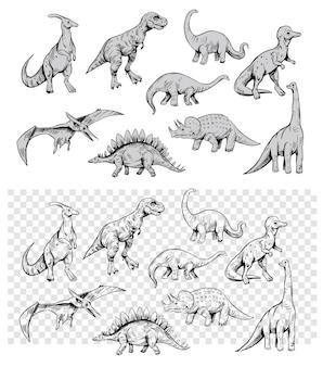 白い背景で隔離の恐竜のセット、ベクトルスケッチイラスト。ヴィンテージスタイル