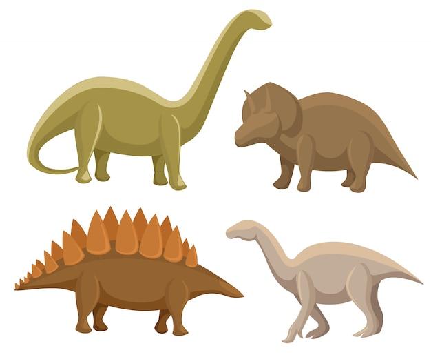恐竜のセットです。ステゴサウルス、トリケラトプス、イグアノドン、ディプロドクス。白のイラスト。ファンタジーのかわいいモンスター、動物、先史時代のキャラクターのカラフルなセット