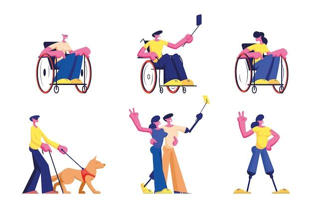 障害者のライフスタイルのセット。男性と女性の障害者キャラクター車椅子に乗る老若男女、漫画イラスト