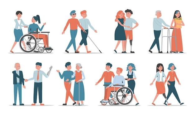 友人や家族のイラストと障害者のセット