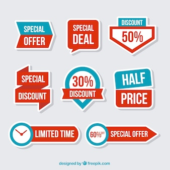 Set of discount stickers in flat design