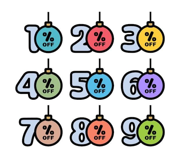 전통적인 색상의 크리스마스 공 모양으로 10,20,30,40,50,60,70,80,90% 할인 태그 세트. 겨울방학 할인 이벤트. 벡터 일러스트 레이 션