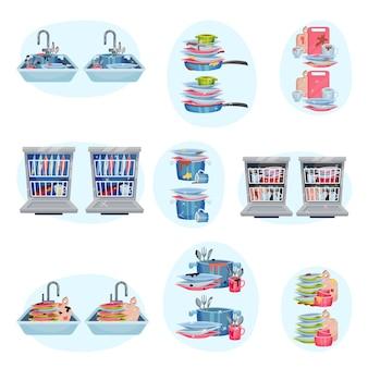 Набор посуды до и после мытья