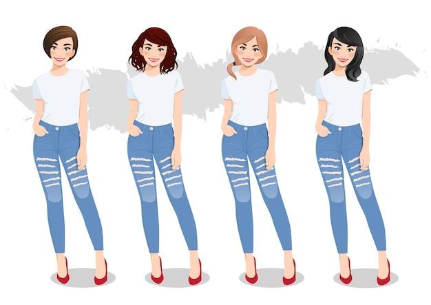 흰색 티셔츠와 청바지에 다른 헤어 스타일을 가진 다양한 소녀 세트