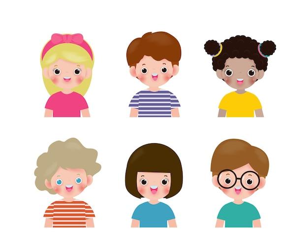 白で隔離の多様な子供たちのセット