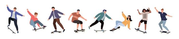 スケートボードに乗っている多様な人々のセット。白い背景で隔離のさまざまなポーズでスケートボーダーの色付きフラットベクトルイラスト