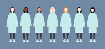 Set of diverse race vector women with long hair. Cute and simple modern flat style