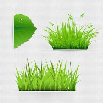 グラデーションメッシュの草のある仕切りのセット