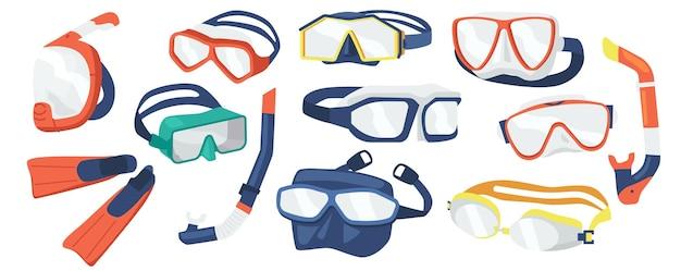 ダイビング器材のシュノーケリングマスク、さまざまなデザインのスキューバダイバーツールのセット。水中メガネ、白い背景で隔離の水泳用マウスピースチューブ。漫画のベクトル図、アイコン