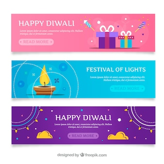 Set of diwali colored banners