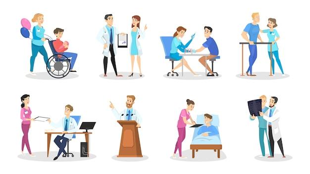 さまざまなポーズ、顔の感情、ジェスチャーを持つ医師と看護師のキャラクターのセット。患者と話している医療従事者。漫画のスタイルの分離ベクトルイラスト