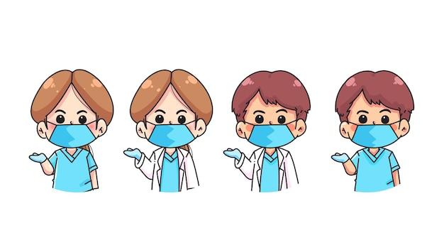 의사와 간호사 팀 만화 손으로 그린 만화 예술 그림 세트