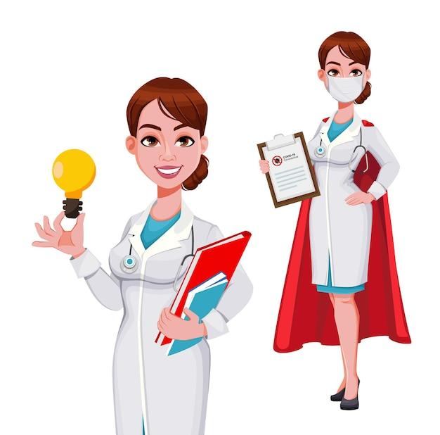 白で隔離の医者の漫画のキャラクターのセット