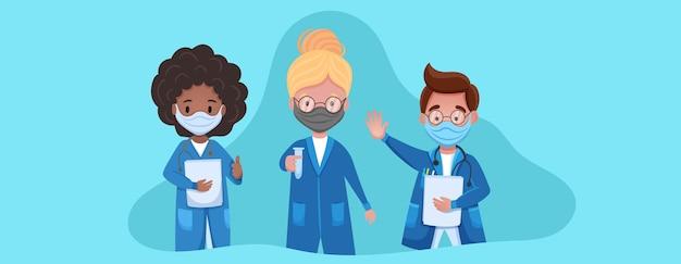 의료 얼굴 마스크에 의사 문자 집합입니다. 코로나 바이러스 중지