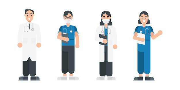 Набор персонажей врача. персонажи команды медицинского персонала в плоском стиле.