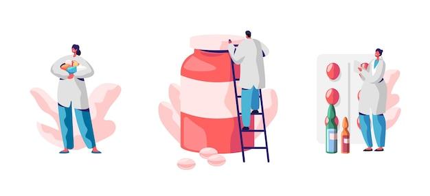 Набор персонажей-врачей с огромными медицинскими таблетками в бутылке, блистере и жидким средством в ампулах, изолированных на белом фоне. мультфильм плоский иллюстрация