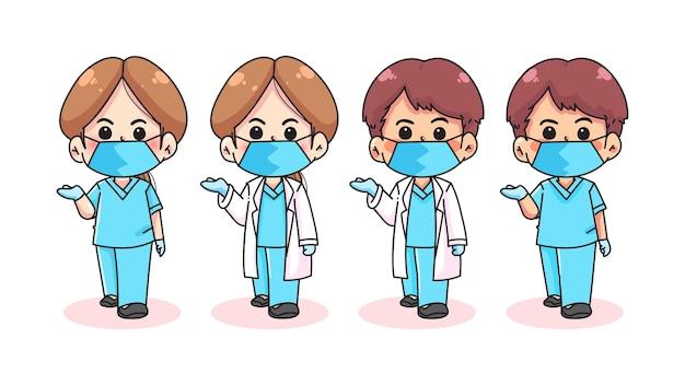의사 팀 만화 손으로 그린 만화 예술 그림 세트