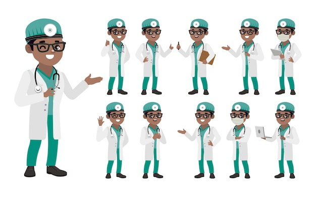 Набор врача с разными позами