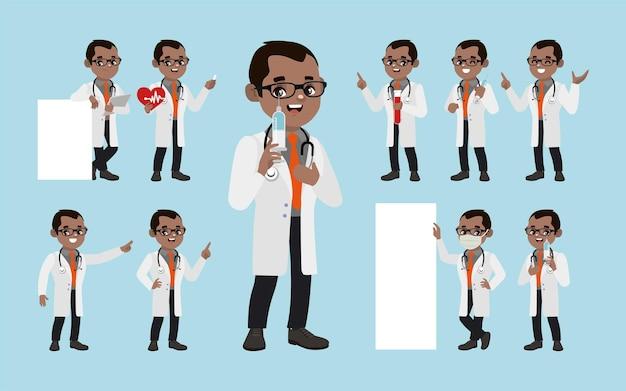 Набор врача с разными позами Premium векторы