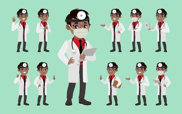 さまざまなポーズの医師のセット