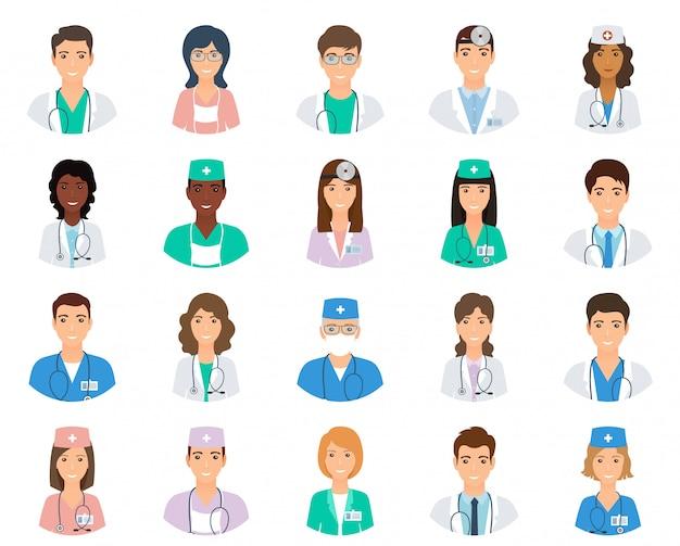 制服を着た医師と看護師のアバターのセット。薬の従業員のコレクション。医療の男性と女性のポートフォリオのアバター。
