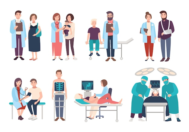 ポリクリニック、病院の医師と患者のセット。セラピスト、小児科医、産婦人科医、外科医への訪問。医療サービス超音波診断、x線、手術。ベクトル漫画イラスト。