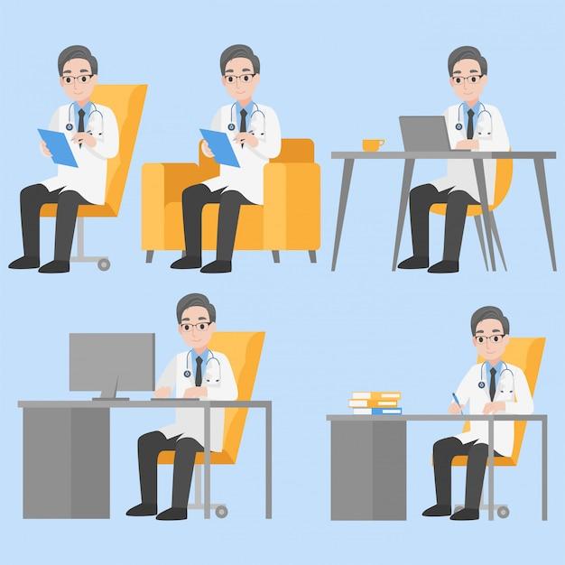Набор врачей дизайн персонажей в различных действий мультфильм плоский концепция здравоохранения.