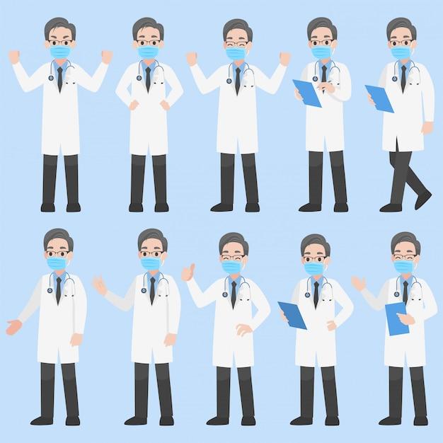 코로나 바이러스 예방을위한 의료 마스크를 착용하는 의사 캐릭터 세트
