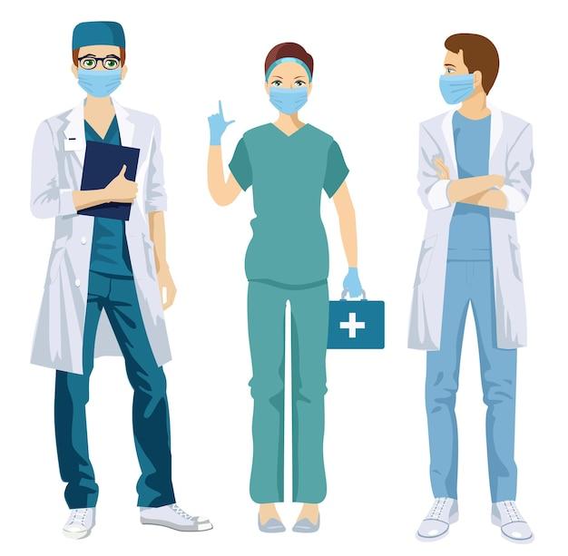 Набор персонажей врачей в белой медицинской маске.