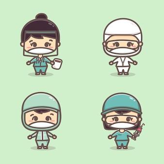 医師の看護師と医療従事者のセットは、covid19かわいい漫画のベクトルと戦うマスクを着用します