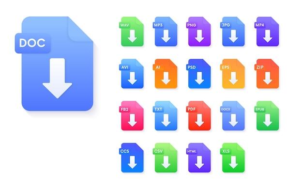 ドキュメントファイル形式のダウンロードアイコンのセット。 pdf、avi、wav、mp3、png、jpg、ai、psd、eps、zip、epub、doc、fb2、ccs、csv、html、xlsベクトル記号。